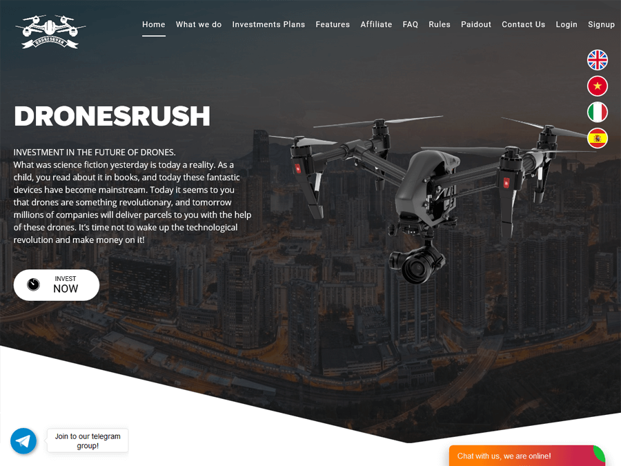 DronesRush - рабочий хайп от 5% в день на 35 дней, депозит включен, 10 USD