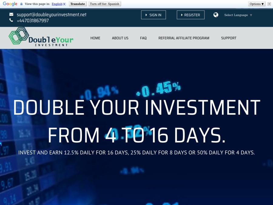 Double Your Investment - удвоение депозита до 200 / 400 / 800%, вход от 50 $